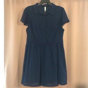Kensie blue polka dot dress